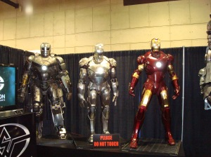 The life-size Iron Man armors at San Diego Comic-Con 2010. (Photo taken by me.)